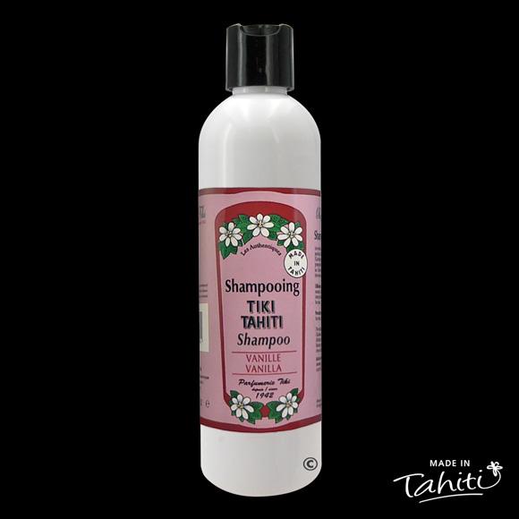 Ce Shampooing au Monoï Tiki Tahiti 250 ml parfum Vanille est fabriqué à Tahiti-Faaa par la Parfumerie Tiki depuis 1942.