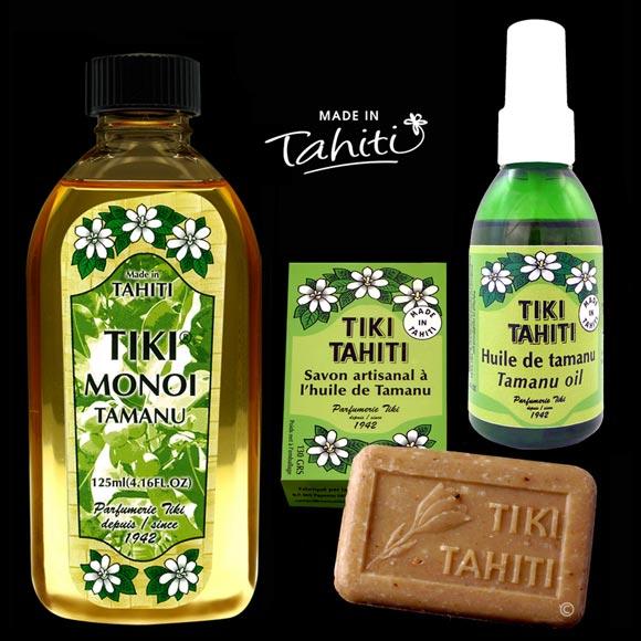 Cette huile de Tamanu 100 % naturelle provient des Îles Marquises : elle est conditionnée à Tahiti Faaa par La Parfumerie Tiki et firmulée dans ces soins polynésiens