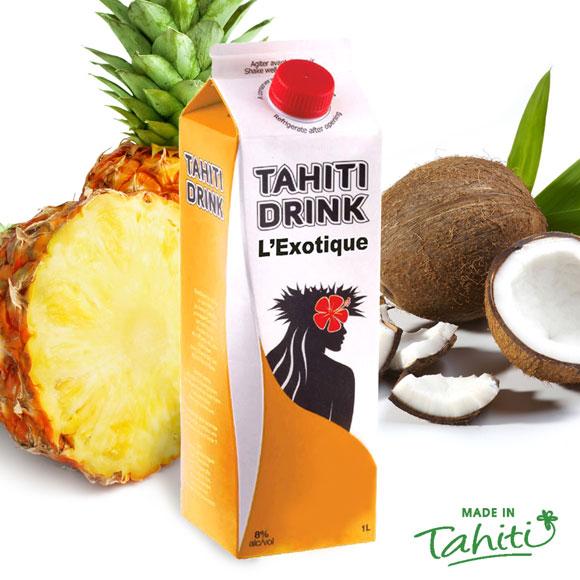 La touche festive authentique pour vos soirées, avec la Star des bringues polynésiennes : Tahiti Drink,l'Exotique à la noix de coco, fabriqué à l'usine de Jus de Fruits de Moorea.