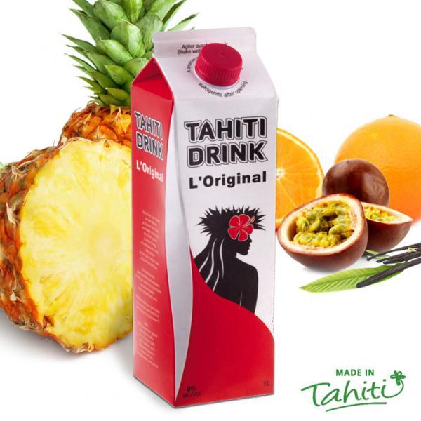 La touche festive polynésienne authentique pour vos soirées, avec la Star des bringues polynésiennes : Tahiti Drink, l'Original, fabriqué à l'usine de Jus de Fruits de Moorea.