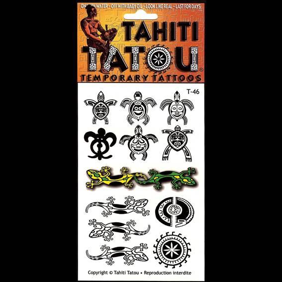 Tortues ou margouillats, les lézards des faré polynésiens, sur votre peau pour une occasion ? Tahiti Tatou, tatouages temporaires en provenance directe de Tahiti
