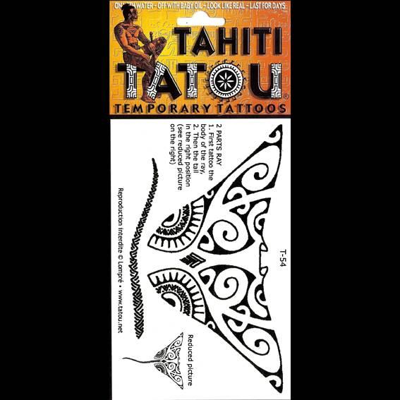 Une immense raie Manta sur votre peau avec un tatouage temporaire en provenance directe de Tahiti ? 8 x 10 !