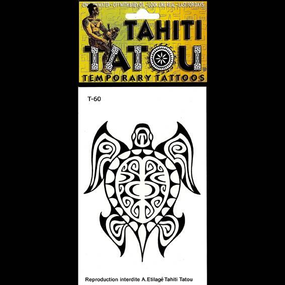 Une grande Tortue polnésienne sur votre peau avec un tatouage temporaire en provenance directe de Tahiti ? 8 x 10 !
